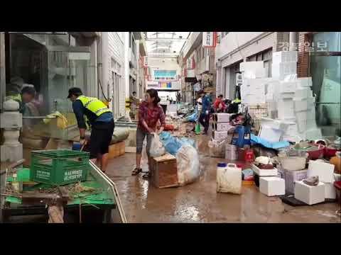 [현장 영상] 태풍 '콩레이'가 휩쓸고 간 영덕 강구시장